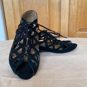 Mia Black Suede Sandals